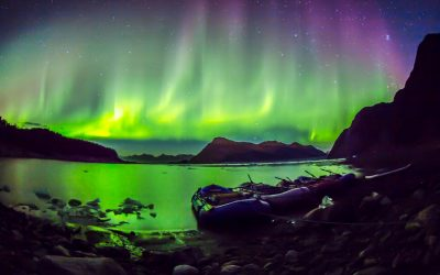Northern Lights illuminate the night over Miles Glacier