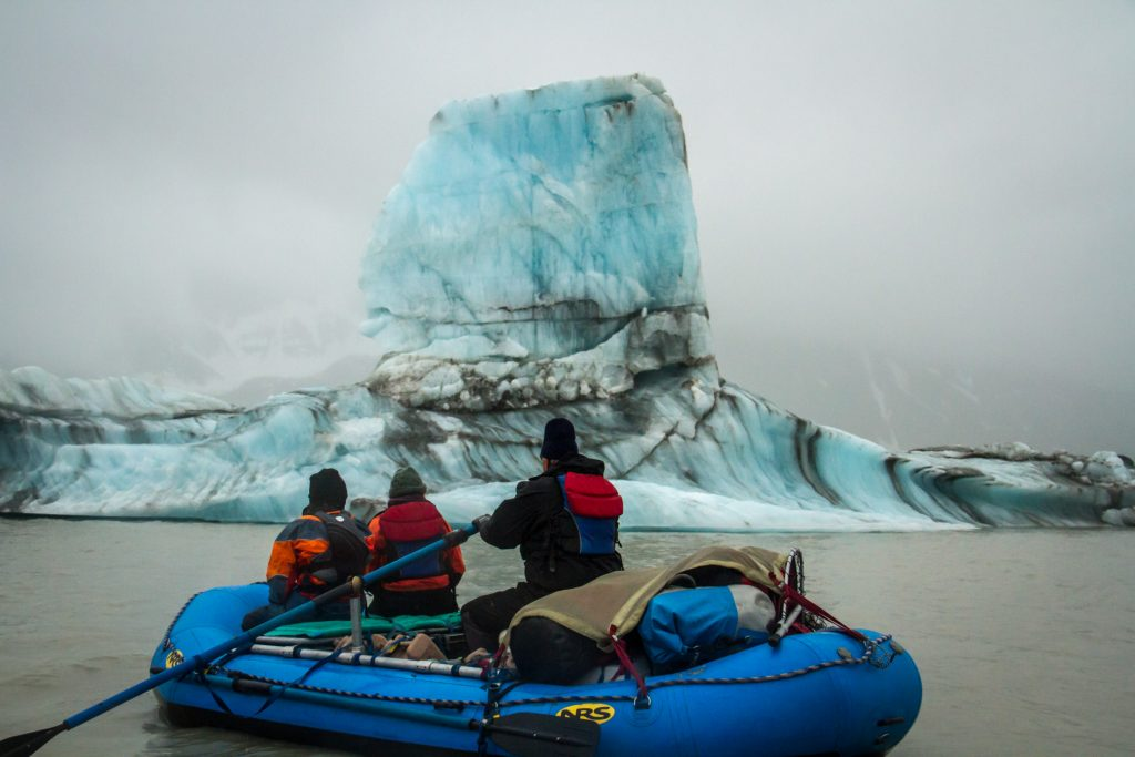 Float and row among towering icebergs of Miles Lake on the Copper River